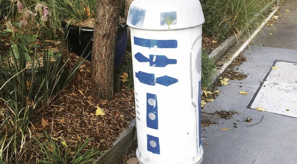 Nadya and Robert have grown fond of their characterful neighbourhood, which is conveniently located and peppered with community touches, such as this Telstra pillar masquerading as R2-D2 from Star Wars.