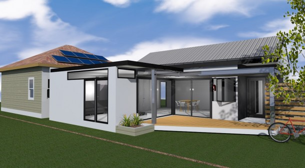 Tim's suggested design, which makes the most of the nothern aspect along the side of the property.