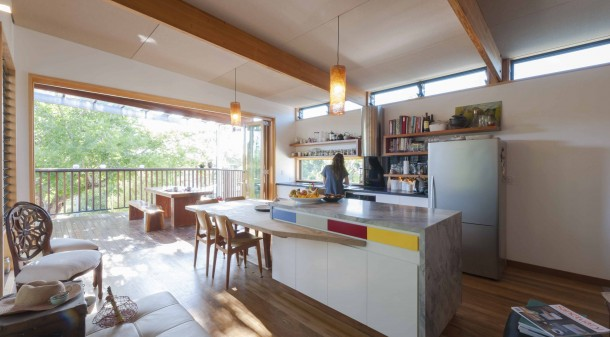 "The house sits amidst its garden, a contrast to the elevated Queenslanders disconnected from theirs. Lisa and Mark's approach was ""not to build bigger than necessary."""