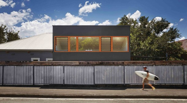 """Architect Jason Elsley says they tried to make the modest house """"feel domestic in scale, while looking like a piece of art."""" The joinery is deliberately striking, but also highly practical."""
