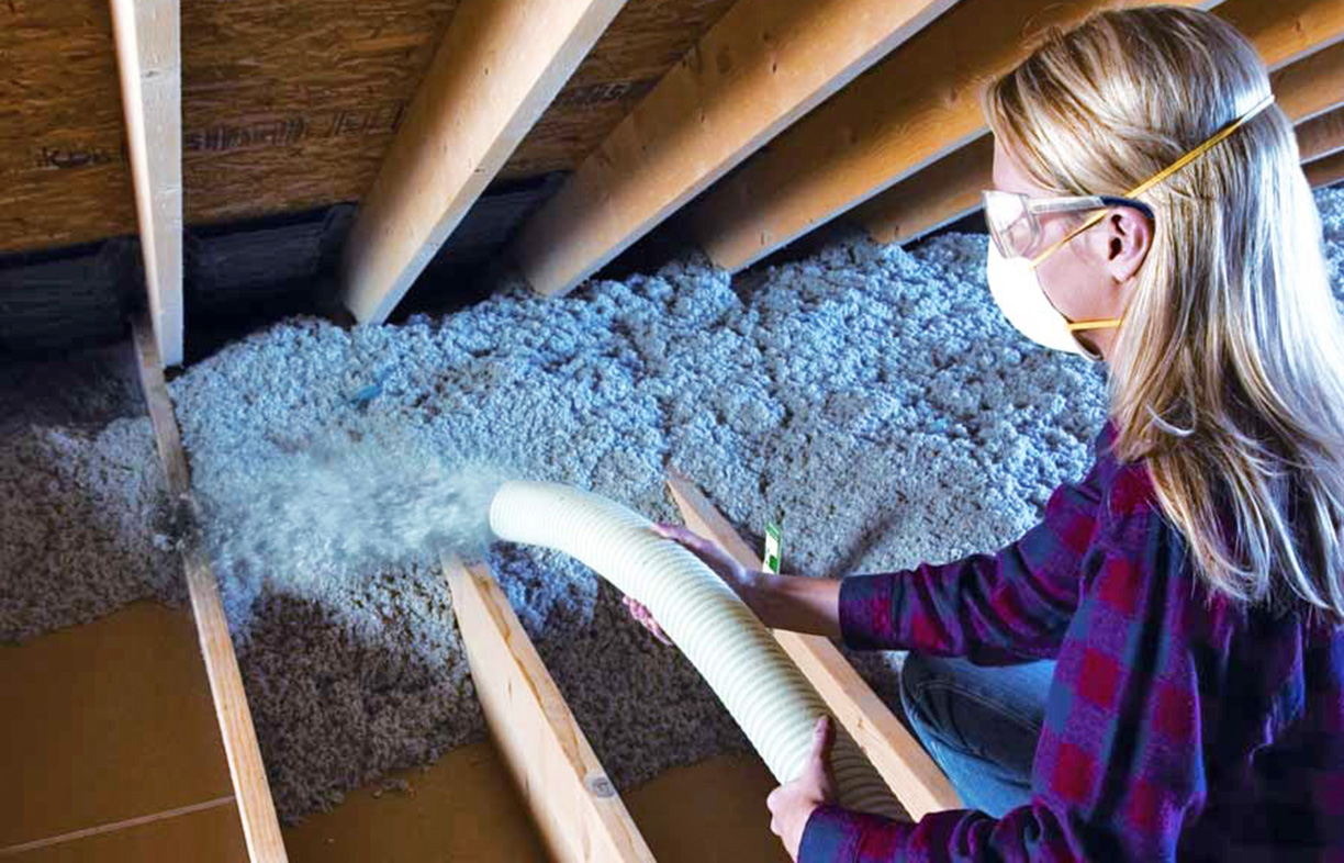 GreenFiber cellulose insulation is made with 85 percent recycled paper fiber.