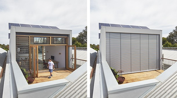 A roof deck sets the extension back from the pitched roof of the retained front part of the house, and admits sunlight deep into the narrow home. Automated exterior blinds and cellular blinds inside regulate solar gain in summer and heat loss in winter.