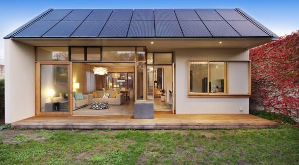 A solar system was a key part of the design brief, and dictated the roof angle of the extension.