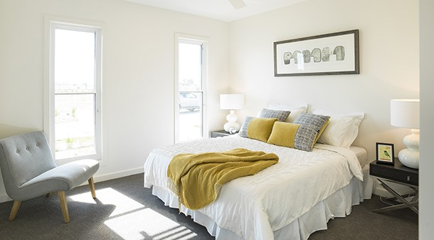 """The bedrooms and living spaces are naturally lit, with all but one bedroom oriented to the north. """"It's an amalgamation of small incremental change that goes into making it a much better product,"""" says the builder."""