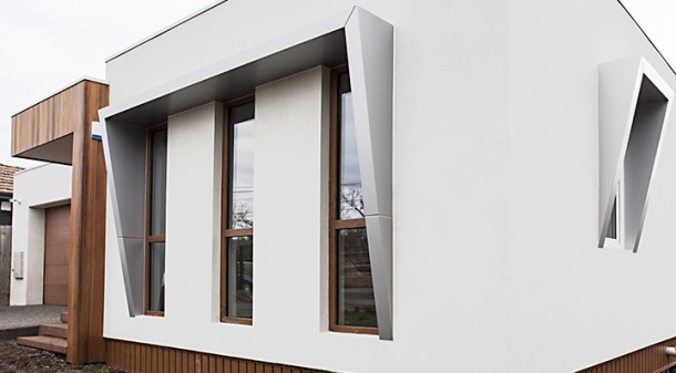The owners have preferenced low-maintenance materials, such as aluminium-clad window shades (dubbed 'the eyebrows') over timber. They also chose screw piles instead of stumps to avoid use of concrete.