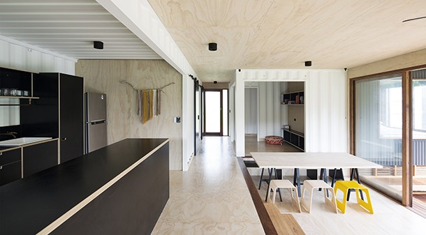 """""""Matt's design style is pared back, simple, elegant, clever, with honest use of materials without trying to hide anything,"""" says homeowner Simon. Interior linings are of structural ply to keep costs down."""