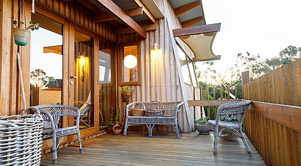 Silvertop ash decking is one of the home's features, part of the overall plan of simple, non-toxic materials. Structural timbers are spotted gum and Tasmanian oak.
