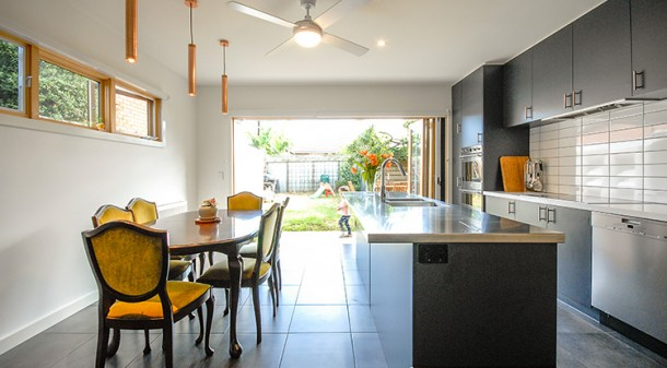James and Jasmine opted for Australian-made tiles on their concrete slab floor, as it was a cheaper option than polished concrete and they were advised that the tiles wouldn't significantly impede the floor's thermal mass benefit.