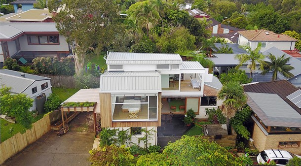 Although hemmed in – with five neighbours and three others who share a right-of-way access across the north of the block – architect Kurt Crisp loved the neighbourhood and could see potential for the tiny brick beach shack.