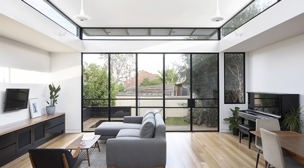 """""""As the steel window frames are very slender and have so little surface area exposed to the outside, the thermal bridging is minimal,"""" Ben says of Curvy House. The windows themselves are all double-glazed."""