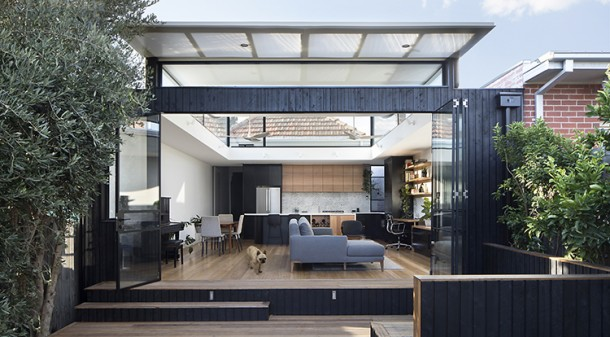 Curvy House's extension opens onto a small deck.