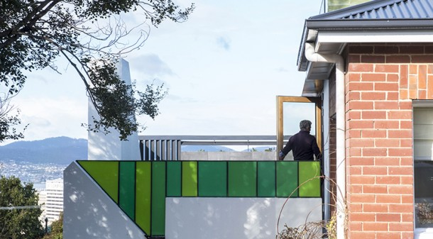 The location of the terrace above the garage makes use of what is oft-wasted space; the playful use of coloured glass and clever screening protects neighbour privacy; the clear distinction between old and new protects and enhances the character of the neighbourhood.