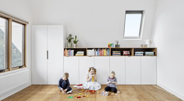 Instead of creating an upstairs parents' retreat, Andrew and Carol designed the new second storey for their kids, now aged eight, six and four. Hidden in the upstairs ceilings, BioPCM phase change material will help stabilise internal temperatures, particularly in summer.