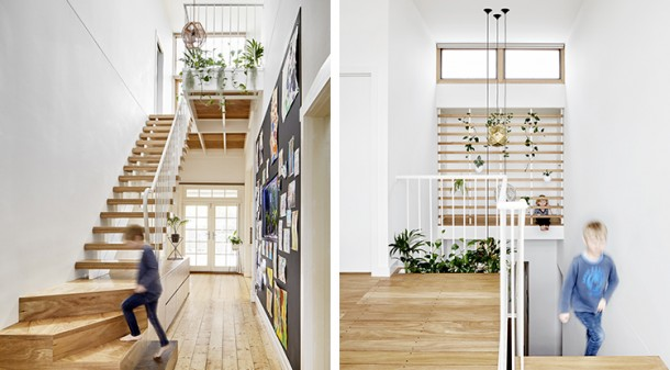 """The stairs that let the light in sum up what we wanted for the house: plenty of north light into the dark south side,"" says homeowner Andrew. The double-height void accommodating the hallway and stairs is Penny's core design strategy for natural light and ventilation."