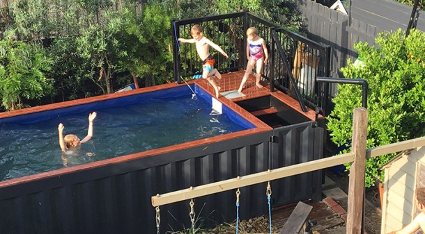 The above-ground recycled shipping container pool is, of course, one of the kids' favourite features of the house. Supplied as a self-contained unit complete with access steps, pump and filter, it was chosen for the minimal groundwork required to install it. Homeowners' photo.