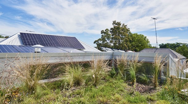Planted with water-wise natives the green roof offers surprising green glimpses through the clerestory windows, and also boosts the insulative effect of the roof. A 4.5kW solar system helps power the house; timers turn on appliances to make efficient use of the solar electricity.