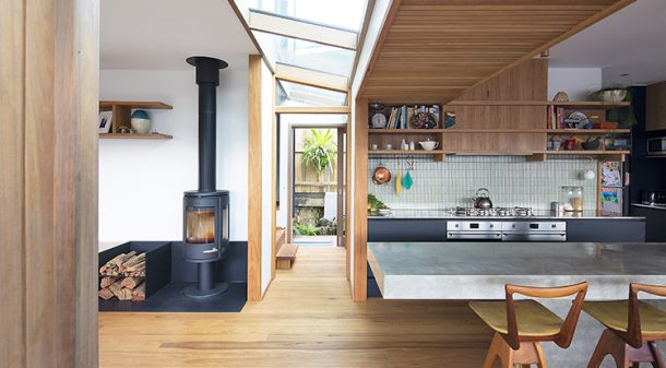 A custom-made glazed-skylight strip delineates the new part of the house from the old, and brings plentiful light into the heart of the house. It's double glazed and low-e coated.