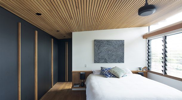 Acoustic feature ceilings upstairs were formed using Blackbutt battens, spaced 19mm apart to aid sound absorption. Ceiling fans provide the only active cooling in the house.