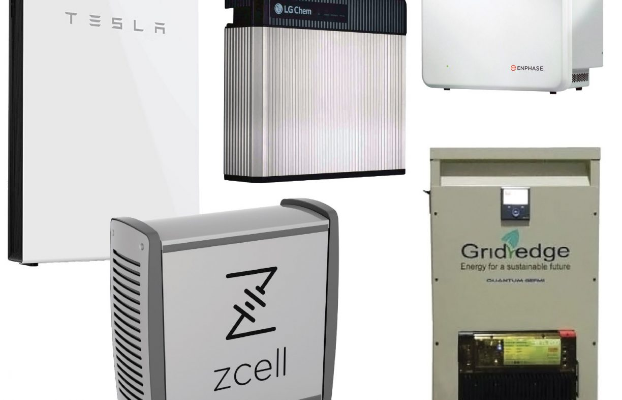 More Flexible Energy Systems Storage Buyers Guide Renew Solar Microinverter Panel System Design Electronic Products Come In A Wide Variety Of Capacities And Designs Several Cell Chemistries Here We Have From Top Left The Tesla Powerwall 2