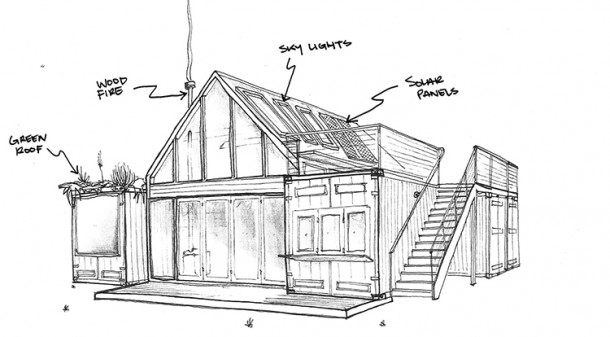 Stephanie and Sam's proposed design features four small shipping containers – housing bedrooms, bathroom, laundry and kitchen – around a double-height central living space with loft above.