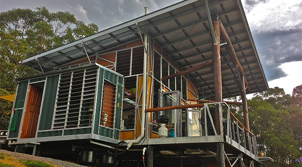 Starting with a shipping container that was already on the site, Troy made use of his steel fabrication skills to build his weekender from recycled materials. He used a collection of louvres inherited from his uncle, plus reclaimed windows and doors. Image: Troy Walker