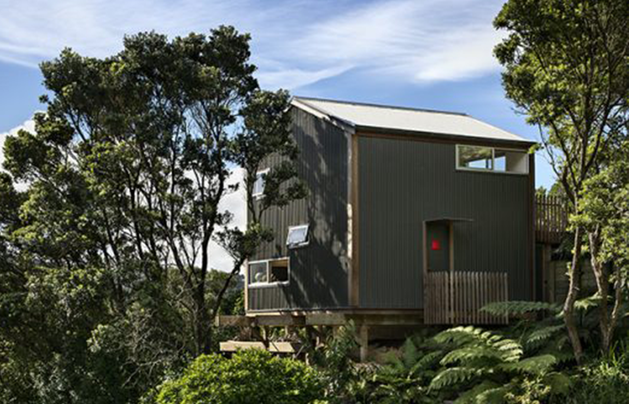 Perched on a steep site deemed too difficult to build on by most buyers, the Nine Tsubo House fits into a cube with 5.5 metre sides. Its footprint of just 30 square metres means a site coverage of only 5 per cent, so hardly any of the block's bushland had to be disturbed.