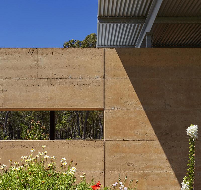 Ramed earth wall