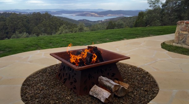 Located above the town of Kettering in Southern Tasmania the house overlooks the water and has views of Bruny Island.