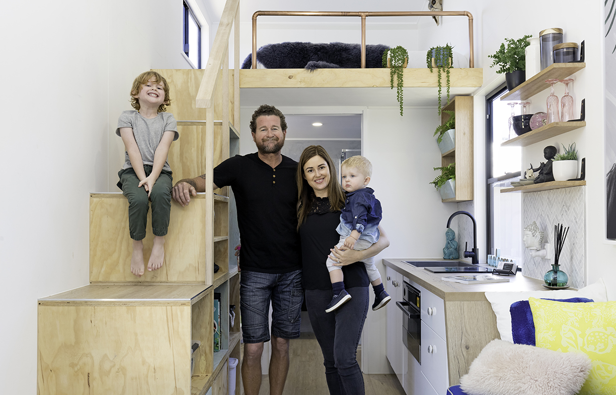 Brisbane Tiny Houses' Marina Collins and husband Kris with children Linx and Rio.