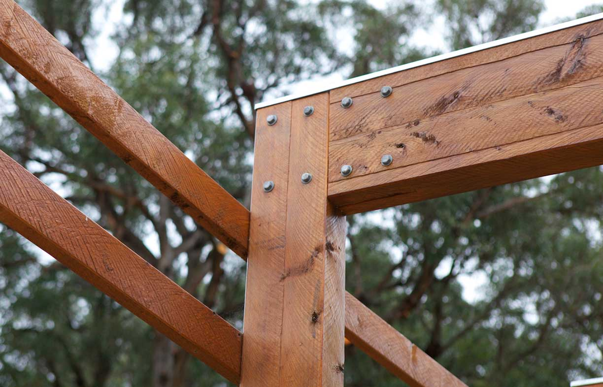Fair Wood is providing ecologically and socially sustainable timber for all kinds of projects, such as this Macrocarpa pergola. Image: Paul Haar