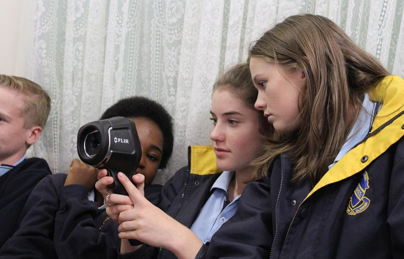Students get behind an infrared camera