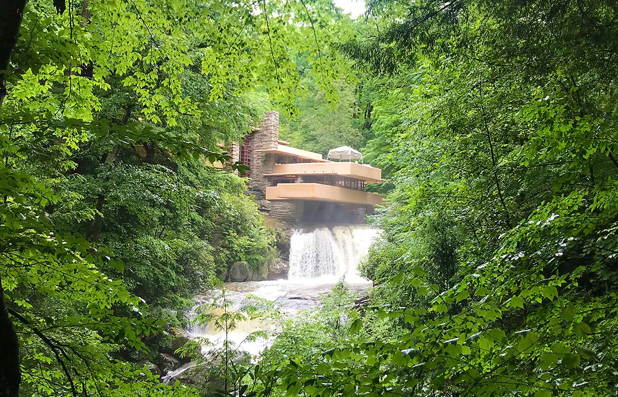 Frank Lloyd Wright's Falling Water in Pennsylvania, USA, takes the biophilic design ideal of connecting to water to the nth degree! Image: Caroline Pidcock