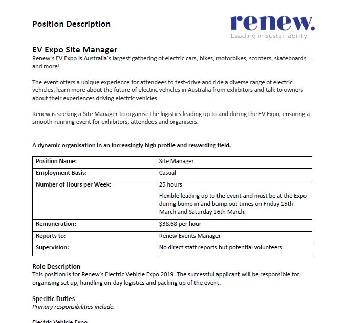EV Expo site manager position