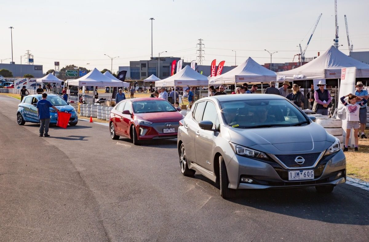 The test drive track was busy all day, with keen visitors putting the latest electric cars from Hyundai, Renault and Nissan through their paces.