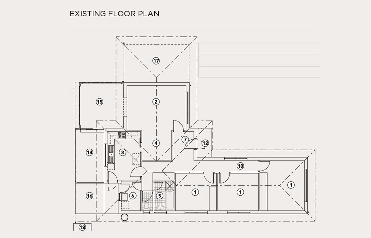 Existing floor plan (see next image for legend)