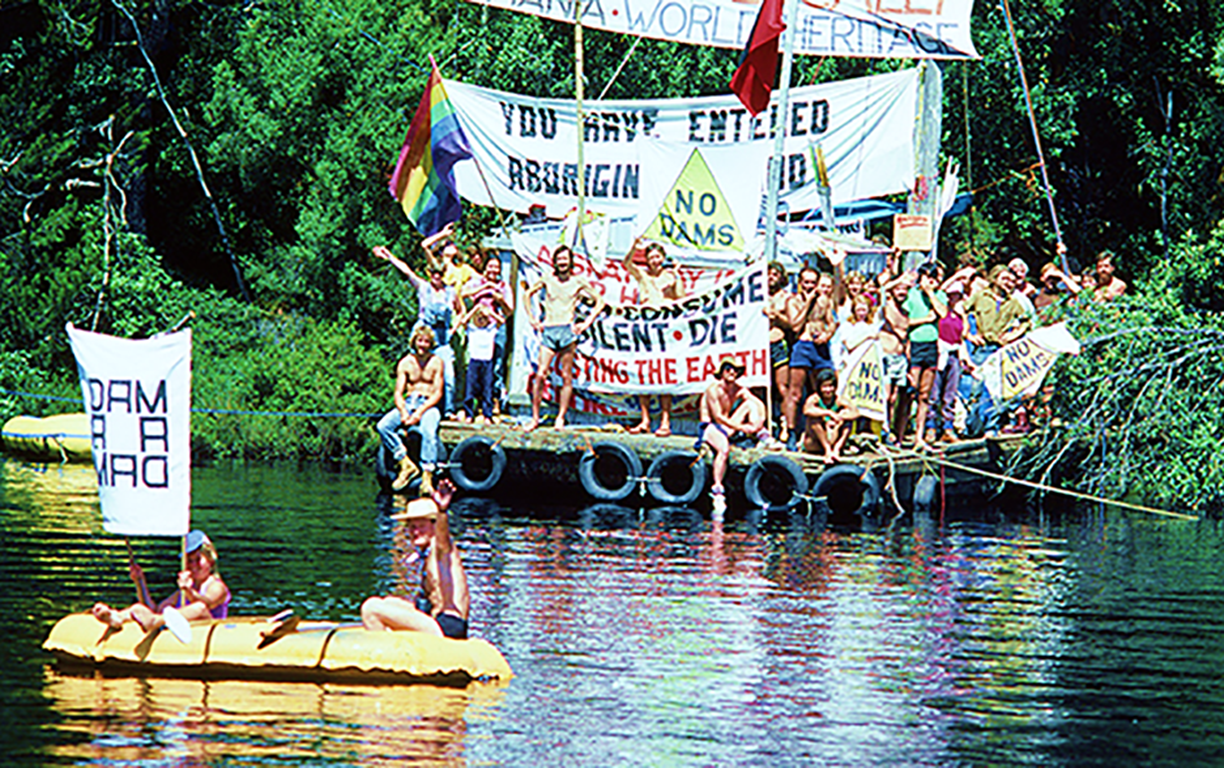 The Franklin River blockade: Australians are experienced in peaceful, disruptive direct action as advocated by Extinction Rebellion. Image: Jerry De Gryse, 1983, nla.gov.au/nla.cat-vn6978126